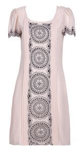 Apricot Short Sleeve Laser Out Embroidery Circle Print Dress $70.40 Cute!
