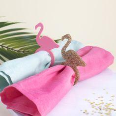 Flamingo Napkin Rings in Pink & Gold