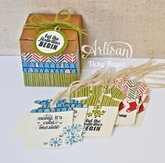 Washi tape to decorate the boxes - what a great way to use all my washi tape I've hoarded-LOL! A gift box of Christmas tags - Stampin' Up Artisan blog hop | Crafting Clare's Paper Moments | Bloglovin'