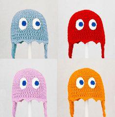 Crochet Pacman Ghosts Earflap Beanie Hat - Etsy $25.00