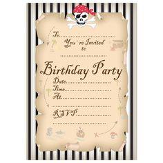Invitations Stripey Pirate Party Invitations