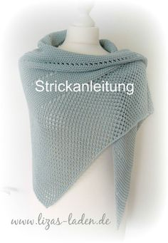 Knitting Patterns Scarves ** Instructions for a knitted triangle scarf ** For this scarf I have Lana Grossa 'Elastico' … Poncho Knitting Patterns, Loom Knitting, Knitting Stitches, Free Knitting, Crochet Patterns, Knitting Scarves, Knitted Shawls, Crochet Shawl, Crochet Lace