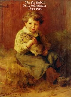 'The Pet Rabbit' Felix Schlesinger  1833-1910