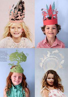 Childrens's paper party hats designed by Stuart McLachlan (illustrator & paper stylist)