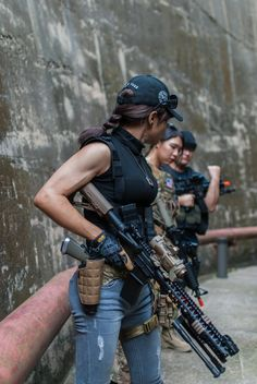;-)~❤~ Female Soldier, Warrior Girl, Military Women, My Girl, Guns, Army, Beautiful Women, Costume, Poses