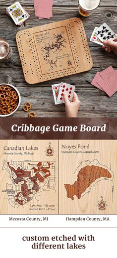 This custom-made cribbage board is sure to score big on the next weekend trip or lake getaway. There are more than 4,000 lakes to choose from, and each is marked with both topographical rings to show the shifting depths of the water, and details from the surrounding area.