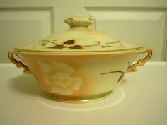 Syracuse China, Serving Dish with Lid, Madame Butterfly Pattern #SyracuseChina