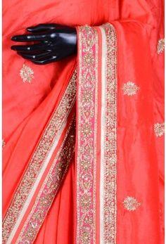 Pure Handloom Silk Embroidery-Reddish Orange-Cutdana Work-WH1084