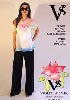 """Blouse BL11-VS01 - Composition 100% Silk Saint - Hand Painted - Sizes Italian (from 38 to 62 tailored) - Limited Edition Series (maximum 100 Pieces for model) - """"Violetta Smik"""" is produced by Sephirot Productions of Milan under the brand """"4SuckerS"""" - 100% MADE IN ITALY - 100% NATURAL FIBRES AND ECOLOGICAL - 100% HAND PAINTED - 100% HAND EMBROIDERED - Try it to believe! Authorized seller: Showroom SD Multibrand Milano street Visconti di Modrone 30. www.violettasmik.com"""