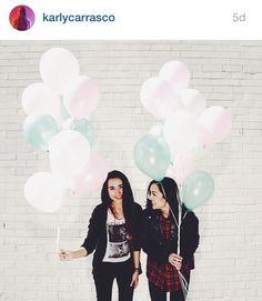 White brick wall + balloons + girls