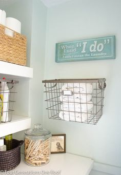 Laundry Room Makeover Reveal | HomeGoods vintage look wall art sign. #homegoodshappy Laundry Closet, Laundry In Bathroom, Laundry Room Quotes, Doing Laundry, Vintage Laundry Rooms, Wall Basket, Hanging Basket, Laundry Decor, Laundry Area