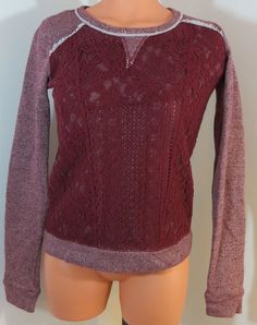 """XHILARATION"" DARK RED PURPLE COTTON BLEND SWEATER - PLEASE SEE ALL PICTURES #XHILARATION #BoatNeck"