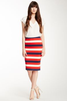 Bobeau Wide Stripe Skirt on HauteLook