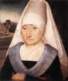 source: http://www.wga.hu  MEMLING, Hans (b. ca. 1440, Seligenstadt, d. 1494, Bruges)  Portrait of an Old Woman 1470-75 Oil on wood, 35 x 29 cm Musee du Louvre, Paris