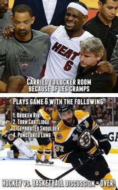 Hockey players are tough but NBA players get paid more. It's all relevant!
