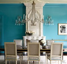 Suzanne Kasler Dining Rooms, Dining Room Blue, Dinning Table, Hickory  Chair, Veranda