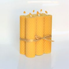 100% Beeswax Pillar Candles Set of 6 Size 5.11 x 1.18 in (13 x 3 cm) Eco Candles Hand Rolled Natural and Lovely Honey Scent 100% Handmade