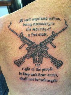 Second amendment tattoo Sick Tattoo, Deer Tattoo, Badass Tattoos, Body Art Tattoos, New Tattoos, Tatoos, Tattoos With Kids Names, Arm Tattoos For Guys, Future Tattoos