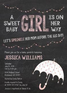 Chalkboard, Bunting and Pink Rainclouds Custom Girl Baby Sprinkle Shower Invitation - Rain Umbrella Raindrops Drops Clouds - 5 DIY Designs