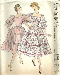 50s Dresses, Dance Dresses, Vintage Dresses, Vintage Outfits, Vintage Dress Patterns, Clothing Patterns, 1950s Fashion, Vintage Fashion, Up Girl