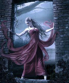 #Dark #Fantasy #art #Goth #red #dress #moonlight