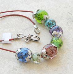Bubbling Lampwork Necklace Spring Fashion Handmade by CandanImrak, $61.00