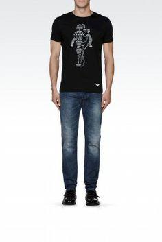 Camiseta Emporio Armani Men's Printed Cotton T-Shirt With Logo Black M1T26JM1Q4J1100 #Camisetas #EmporioArmani