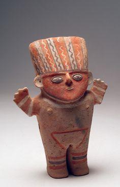 Pre-Columbian Polychromed Cuchimilco Figure Pre-Columbian Art Chimu, Chancay, In
