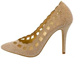 MONET38 ROSE GOLD SCALLOPED MESH POINTED HEEL $10.88