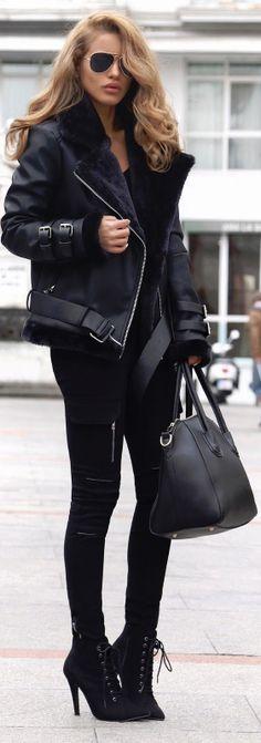 Shearling Biker Jacket / Fashion By Nada Adelle