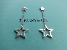 Authentic Tiffany & Co. Sterling Silver 925 Double Star Dangle Dangling Pierced Earrings by BlondeeesTreasures on Etsy https://www.etsy.com/listing/505541154/authentic-tiffany-co-sterling-silver-925