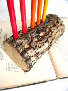 Items similar to Bark Wood Pencil Holder / Rustic Wood Office Organization on Etsy School Supplies, Office Supplies, Wood Pencil Holder, Desk Tidy, Wood Gifts, Office Organization, Dining Tables, Rustic Wood, Wood Art