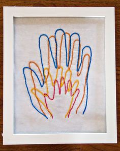 """Hand Embroidery-great """"family portrait"""" or adorable growth chart for kids. Crafts To Do, Arts And Crafts, Sewing Projects, Diy Projects, Family Art Projects, Family Crafts, Craft Tutorials, Hand Art, Crafty Craft"""