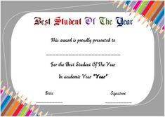 student awards certificate templates