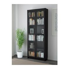 BILLY / OXBERG Bookcase, black-brown, 31 It is estimated that every five seconds, one BILLY bookcase is sold somewhere in the world. Bookcase With Glass Doors, Glass Cabinet Doors, Bookcase White, Ikea Billy, Billy Oxberg, Billy Regal, Ceiling Height, Particle Board, Wood Veneer