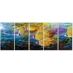Flashes of golden yellow fish on a flowing current of aquamarine are skillfully painted on this deep sea landscape.
