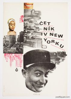 Movie Poster for Louis de Funès comedy The Troops in New York, poster art Jaroslav Sůra, 1967