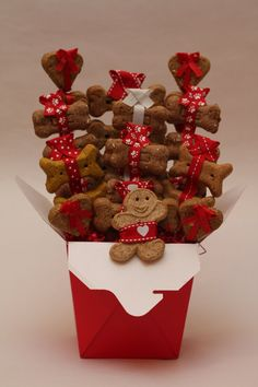 Valentines Day dog biscuit treat basket
