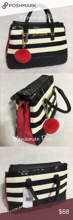 "Betsey Johnson Sequin Stripe 3 Compartment Satchel NEW WITH TAGS Authentic Betsey Johnson Black Sequin Striped Triple Compartment Satchel  • Dimensions: 14""L x 10""H x 5.5""D with 4"" handle drop • 1 interior zipper pocket, 2 slip pockets with top magnetic closure • Exterior: Expandable sides, Red Pom Pom • Signature Floral satin lining and gold tone hardware • Product Name: 3 Compartment Satchel • PL-MRC  * Comes from a smoke free pet free environment
