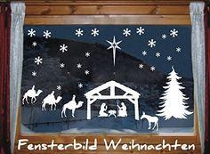 das-label Fensterbild - Jesus-Krippe - 25 x Schneeflocken | 1 Krippenmotiv | 3 Könige | 1 Esel | 1 Wegweiser-Stern | 1 Tannenbaum | Weihnachten Fenstertattoo Wandtattoo Schneeflocken WEISS