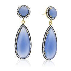 64 Carat Pear Shape Blue Chalcedony and Simulated Diamond Halo Dangle Earrings In 14K Yellow Gold: These… #DiamondJewelry #DiamondRings