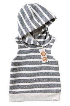 Chunky Gray Stripe Sleeveless Hoodie