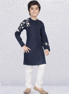 c4d6316d82 Graceful Navy color Linen cotton kurta with Resham work is to make you look  very stylish