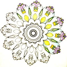 Topsy Turvy Mandala from my coloring book, Weird Wild Wonderful Mandalas to be released soon