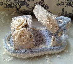 Baby Girl Crochet Sandals in Blue and White ~❥