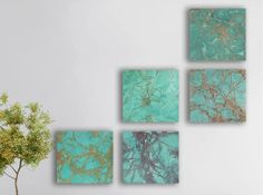 Turquoise Abstract Painting, 5 square CUSTOM Wall Art, Abstract painting - Turquoise stone, green turquoise, turquoise, blue turquoise,