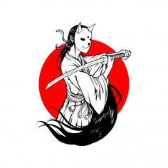 mask samurai simple vector bunny line anime freepik drawing tattoos aesthetic oni drawings japanese kitsune mini premium katana tatuajes tattoo