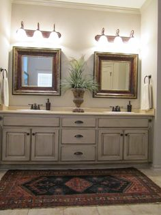 Love These Painted Bathroom Cabinets And The Lights