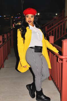 """Just like the last post (CLICK """"HERE"""" TO SEE), this POPPIN' mustard peacoat is from the thift store as well! Cute Swag Outfits, Casual Fall Outfits, Winter Fashion Outfits, Trendy Outfits, Autumn Fashion, Girl Outfits, Plus Size Winter Outfits, Plus Size Fall Fashion, Looks Black"""
