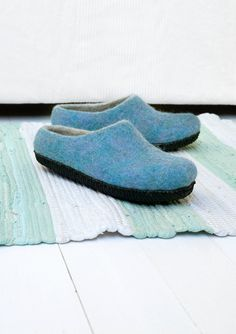Felt wool slippers for women in blue color with rubber sole Felted Wool Slippers, Natural Latex, Light Blue Color, Sheep Wool, Womens Slippers, Mother Gifts, Cute Gifts, Suede Leather, Wool Felt